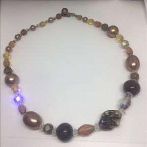 """Vintage Beaded Pearl Crystal Necklace 15"""""""